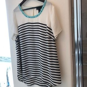 Lane Bryant Black & White Striped Blouse w/Jewels